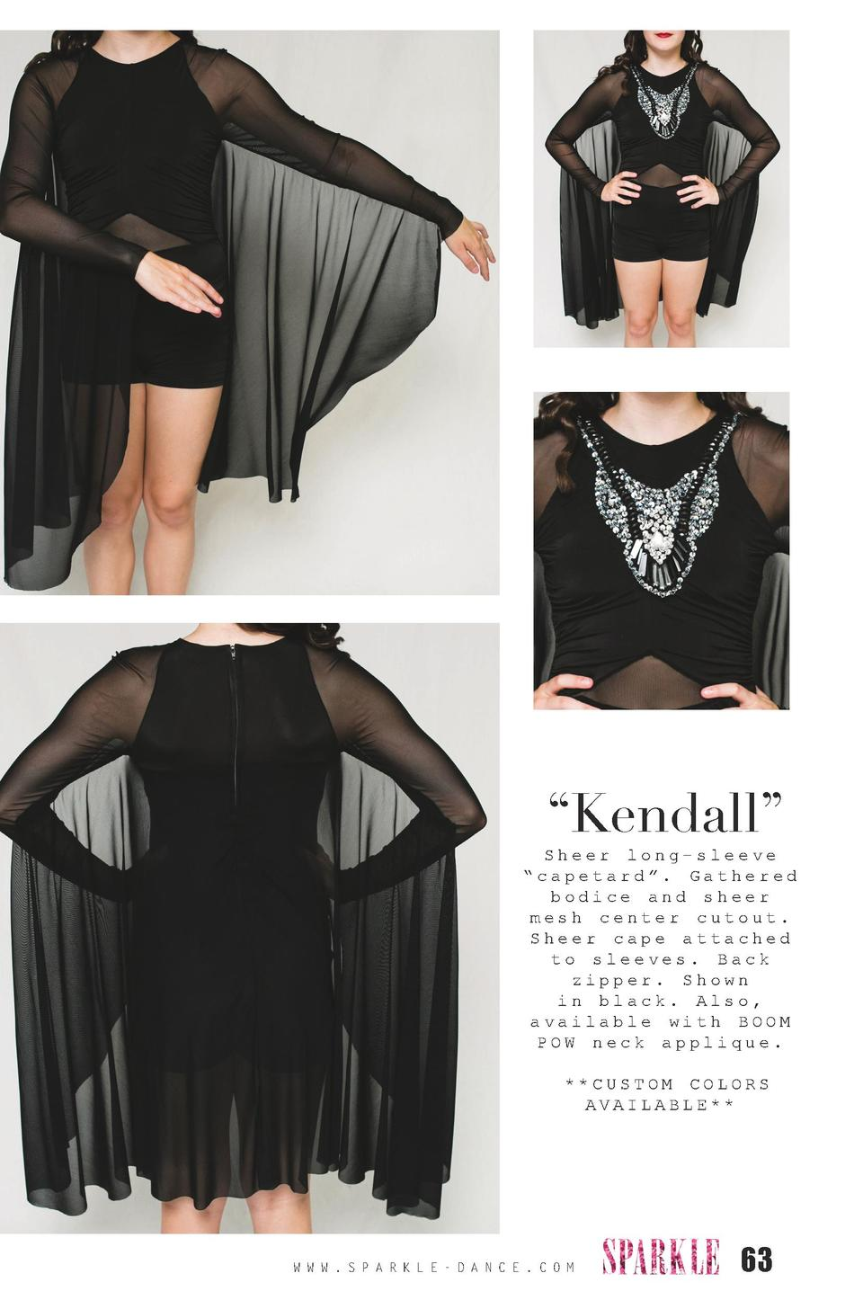 Kendall     Sheer long-sleeve    capetard   . Gathered bodice and sheer mesh center cutout. Sheer cape attached to slee...