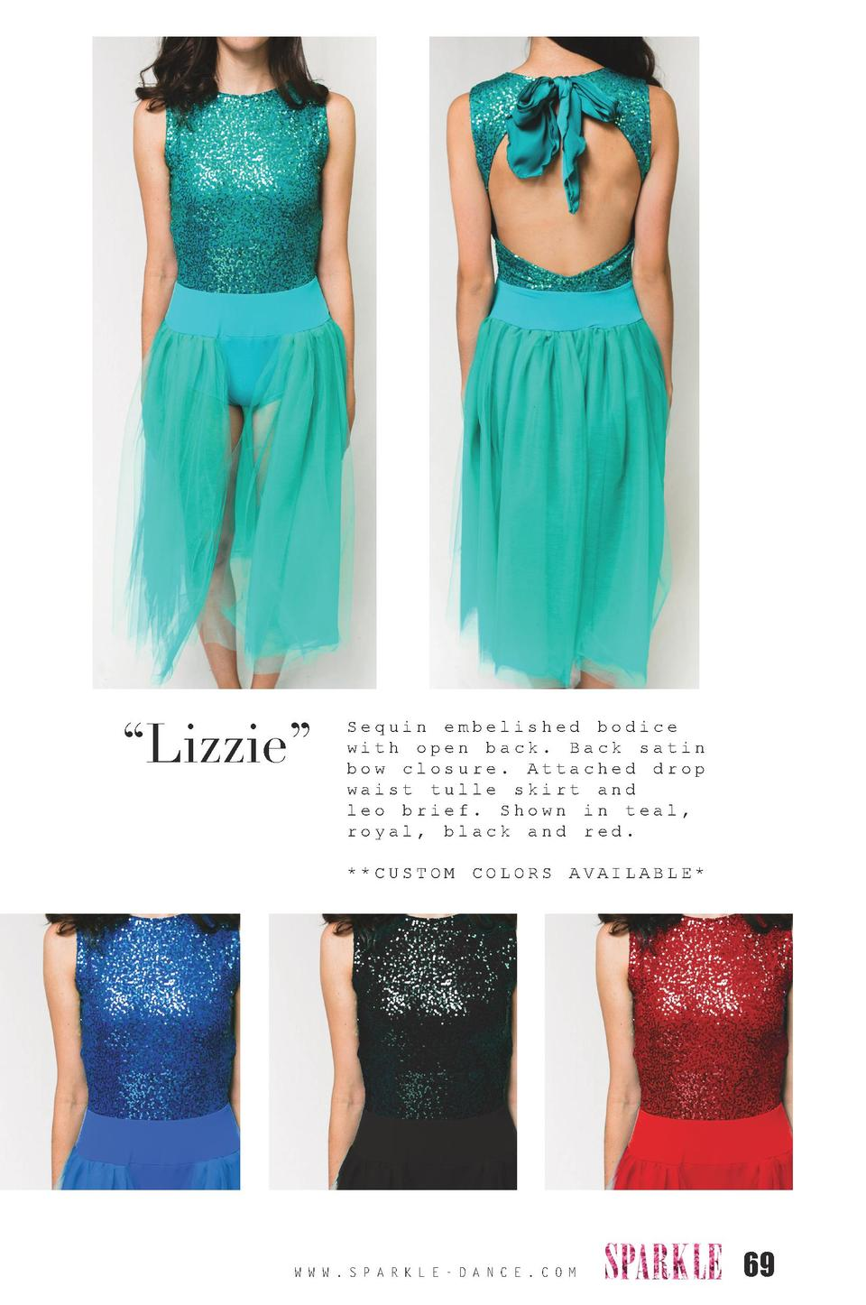 Lizzie     Sequin embelished bodice with open back. Back satin bow closure. Attached drop waist tulle skirt and leo bri...