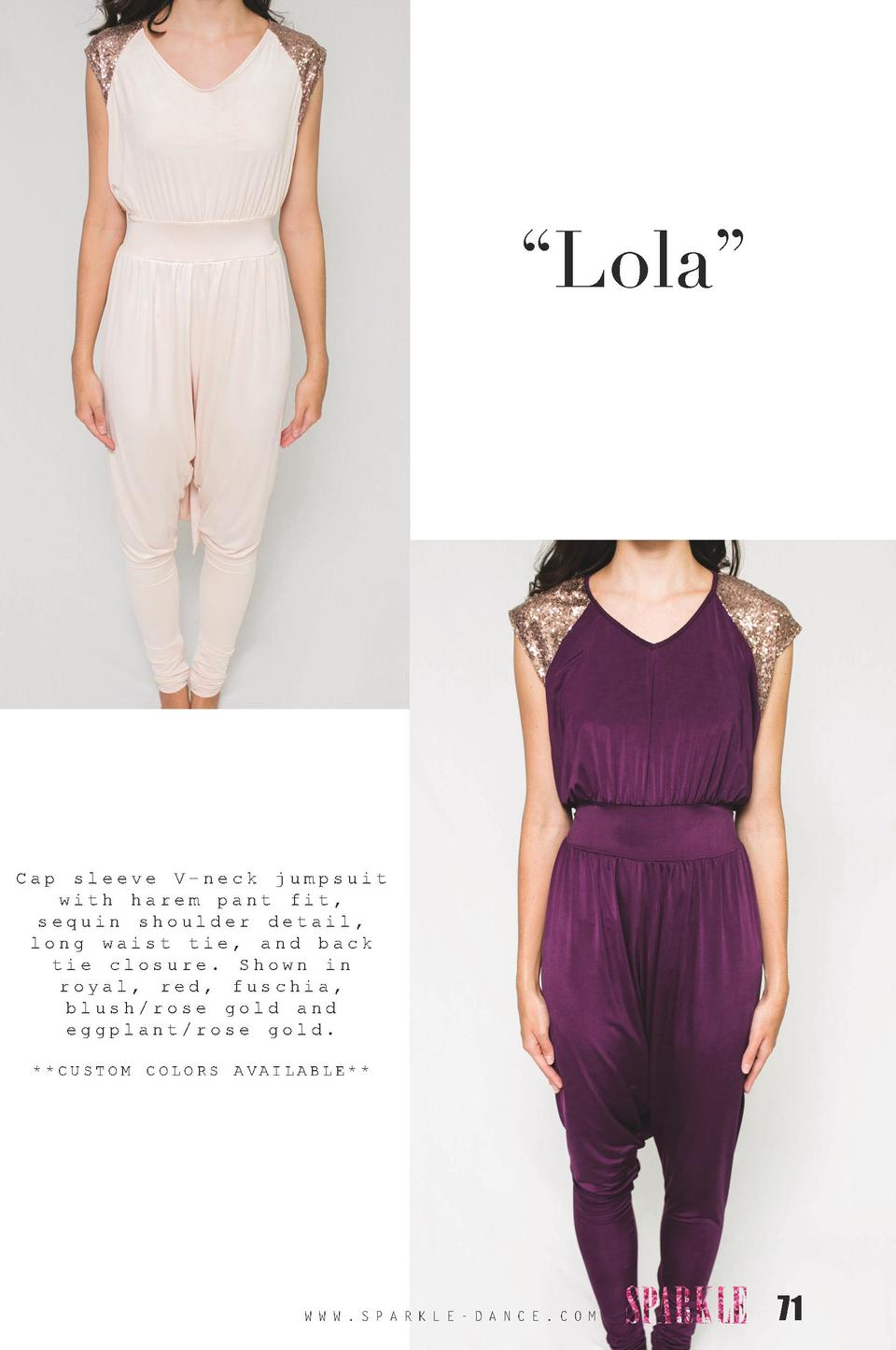 Lola     Cap  sleeve V-neck jumpsuit with harem pant fit, sequin shoulder detail, long waist tie, and back tie closure....