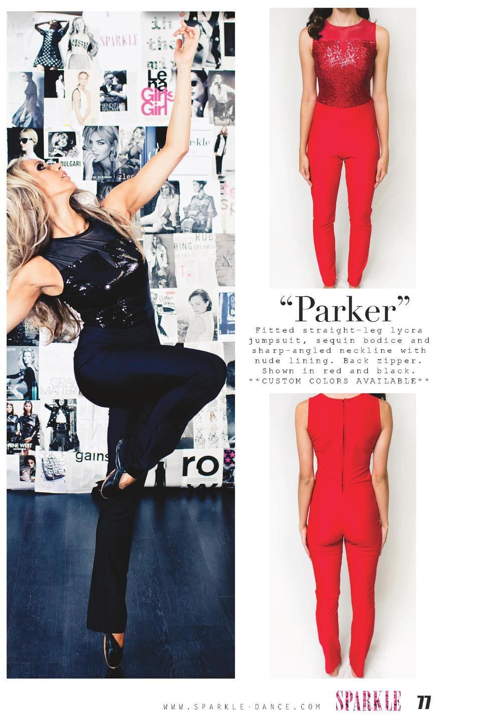 Parker     Fitted straight-leg lycra jumpsuit, sequin bodice and sharp-angled neckline with nude lining. Back zipper. S...