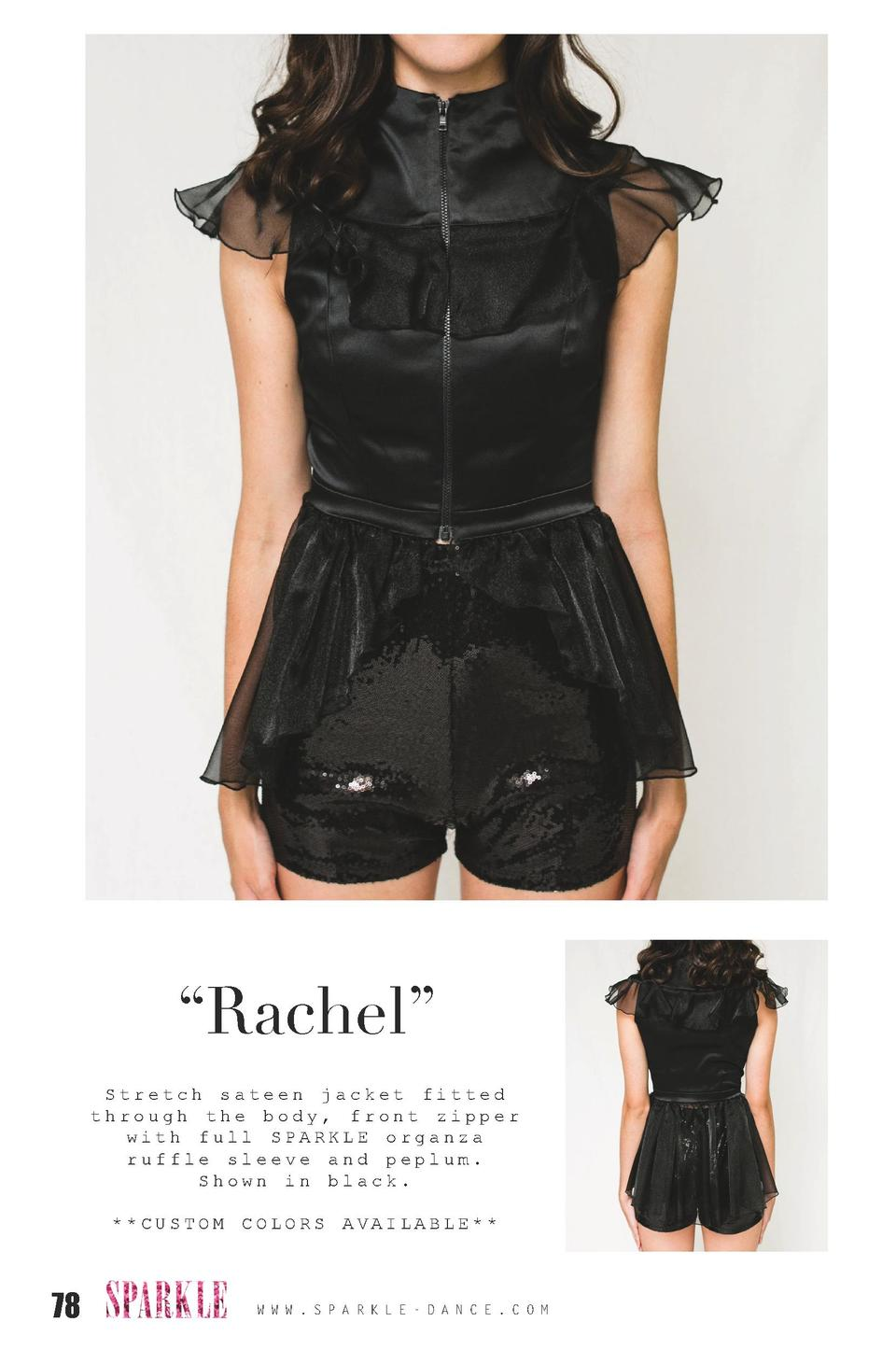 Rachel    Stretch sateen jacket fitted through the body, front zipper with full SPARKLE organza ruffle sleeve and peplu...