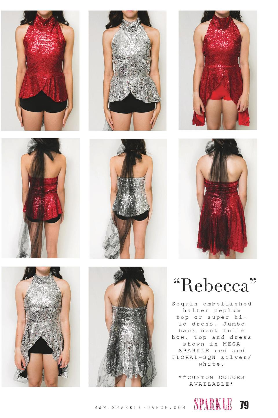 Rebecca    Sequin embellished halter peplum top or super hilo dress. Jumbo back neck tulle bow. Top and dress shown in ...