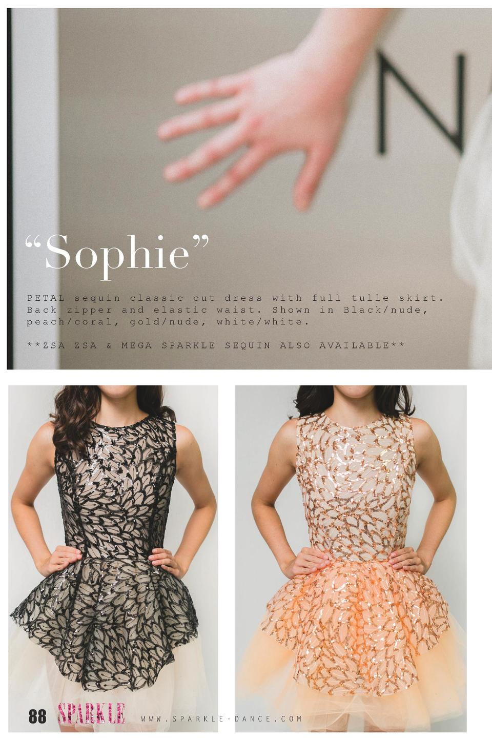 Sophie    PETAL sequin classic cut dress with full tulle skirt. Back zipper and elastic waist. Shown in Black nude, pea...