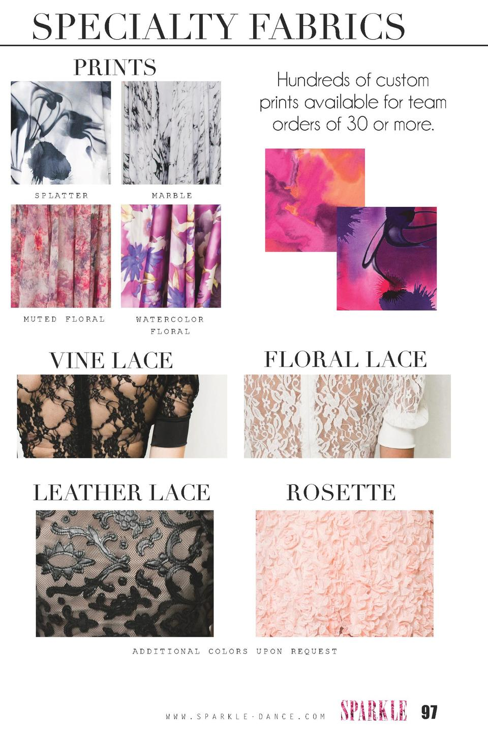 SPECIALTY FABRICS PRINTS  SPLATTER  MUTED FLORAL  Hundreds of custom prints available for team orders of 30 or more.  MARB...