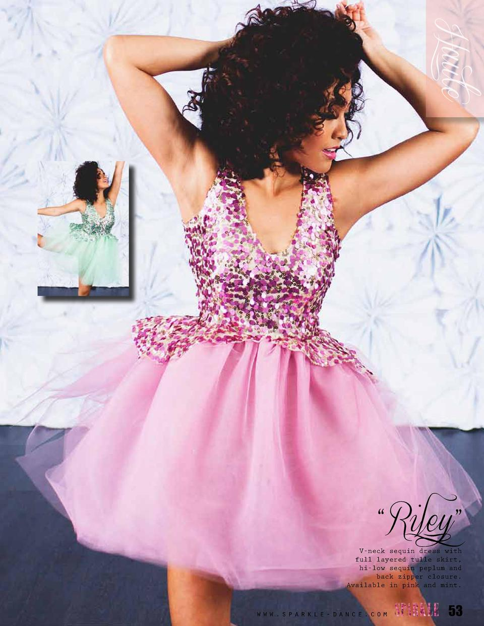 Haute    Riley     V-neck sequin dress with full layered tulle skirt, hi-low sequin peplum and back zipper closure. Availa...