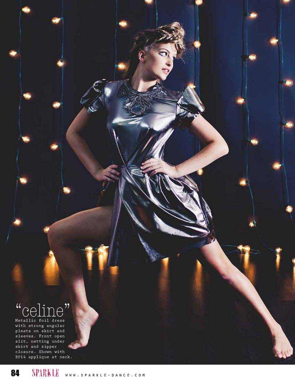 celine     Metallic foil dress with strong angular pleats on skirt and sleeves. Front open slit, netting under skirt an...
