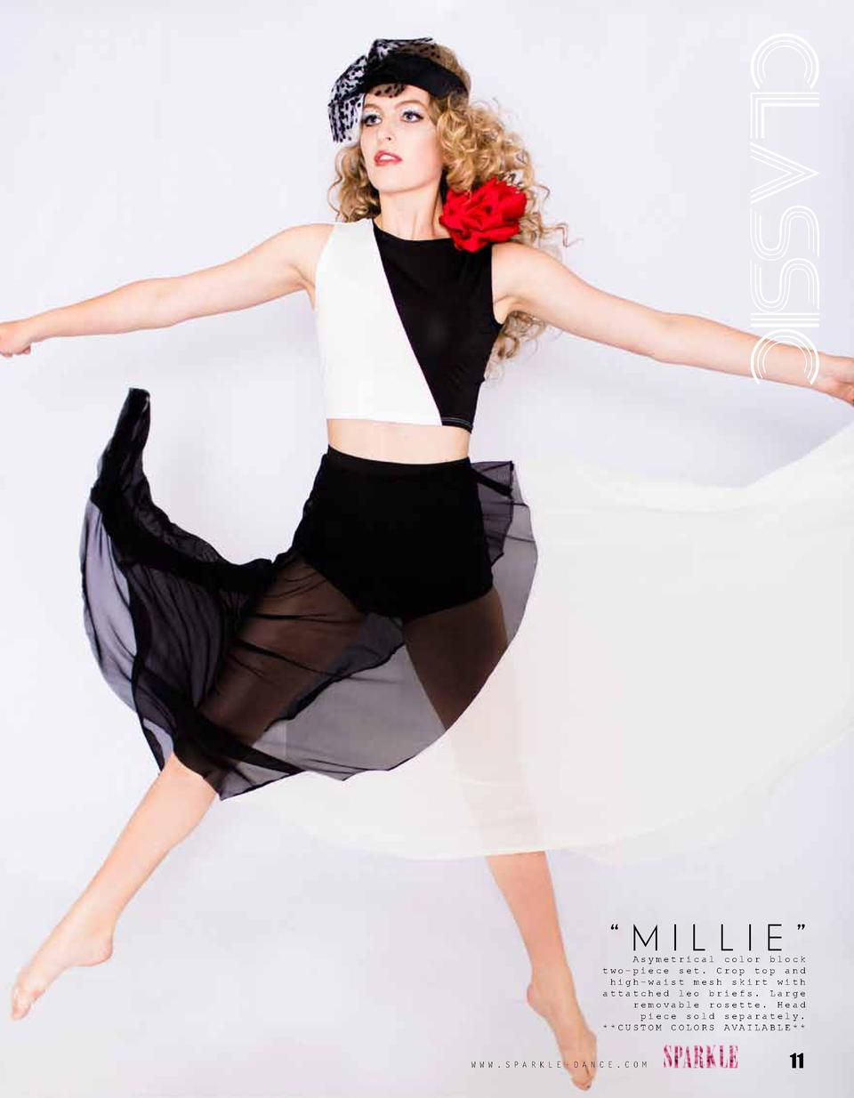 CLASSIC    MILLIE     Asymetrical color block two-piece set. Crop top and high-waist mesh skirt with attatched leo briefs....