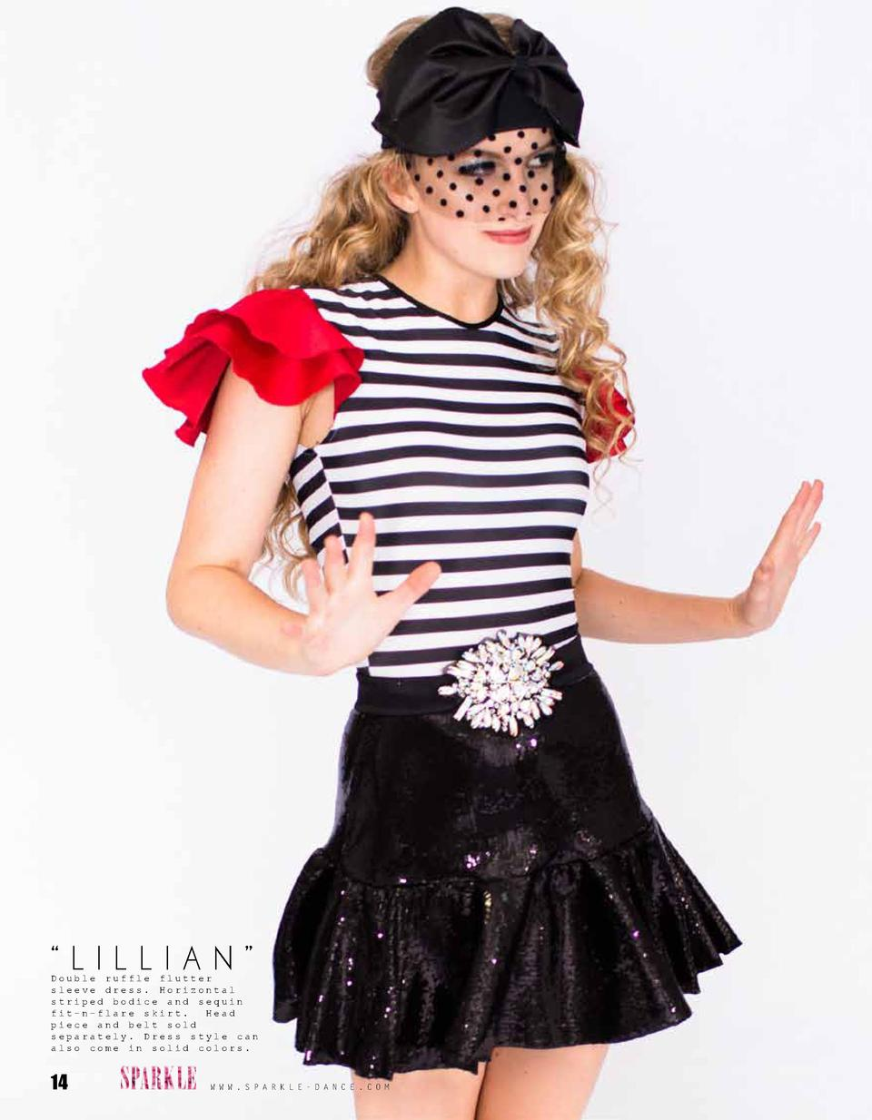 LILLIAN     Double ruffle flutter sleeve dress. Horizontal striped bodice and sequin fit-n-flare skirt. Head piece and ...