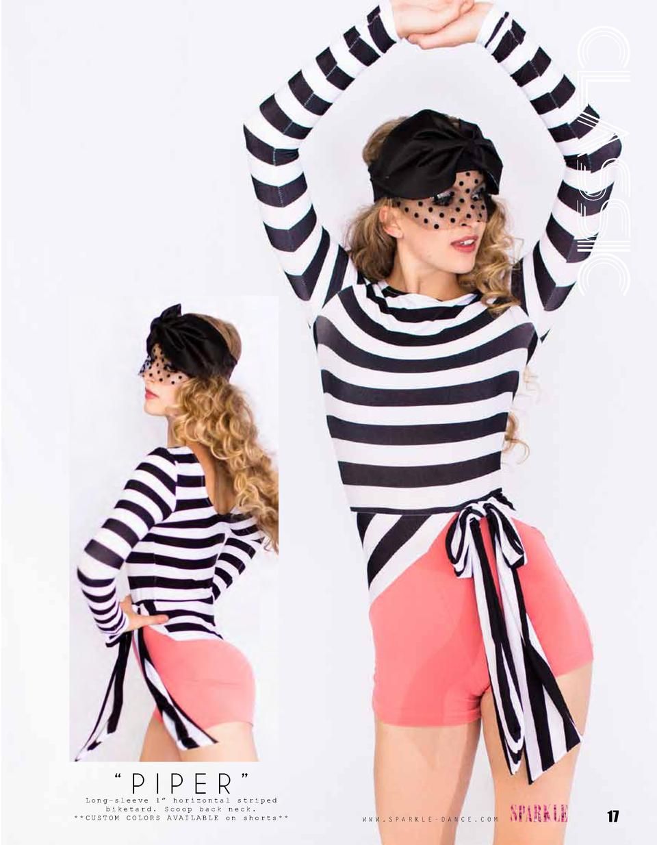 CLASSIC     PIPER     Long-sleeve 1    horizontal striped biketard. Scoop back neck.   CUSTOM COLORS AVAILABLE on shorts  ...