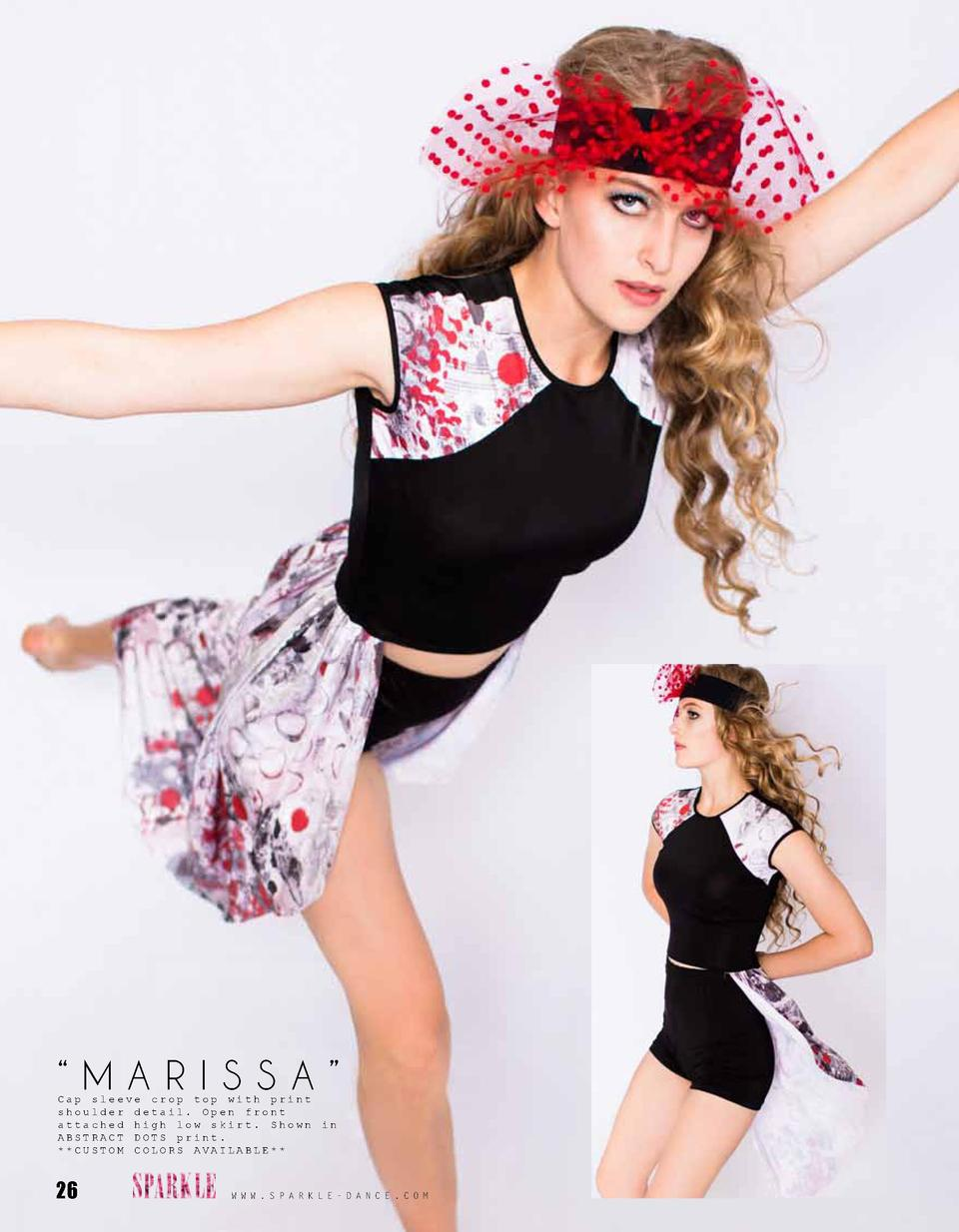 MARISSA    Cap sleeve crop top with print shoulder detail. Open front attached high low skirt. Shown ABSTRACT DOTS prin...