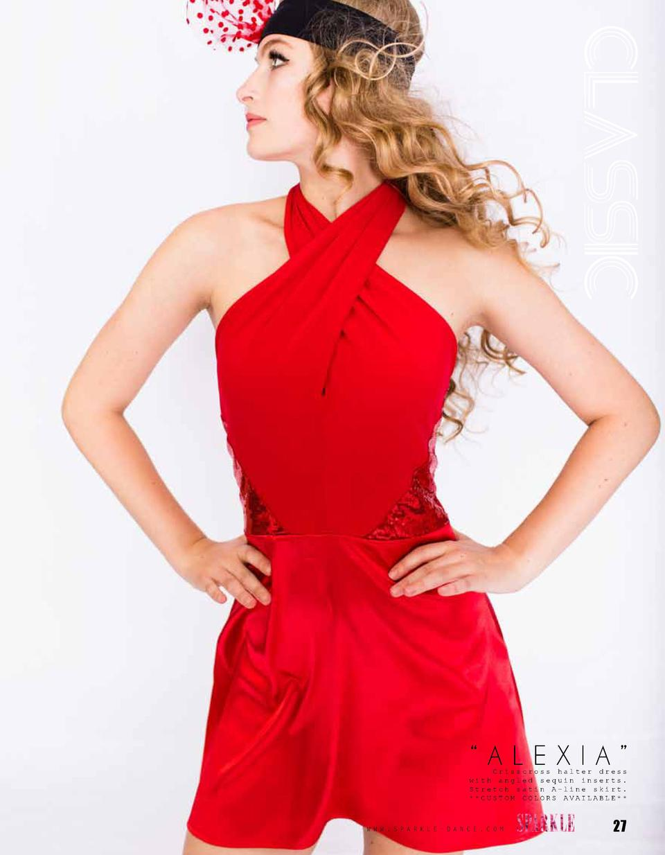 CLASSIC    ALEXIA     Crisscross halter dress with angled sequin inserts. Stretch satin A-line skirt.   CUSTOM COLORS AVAI...