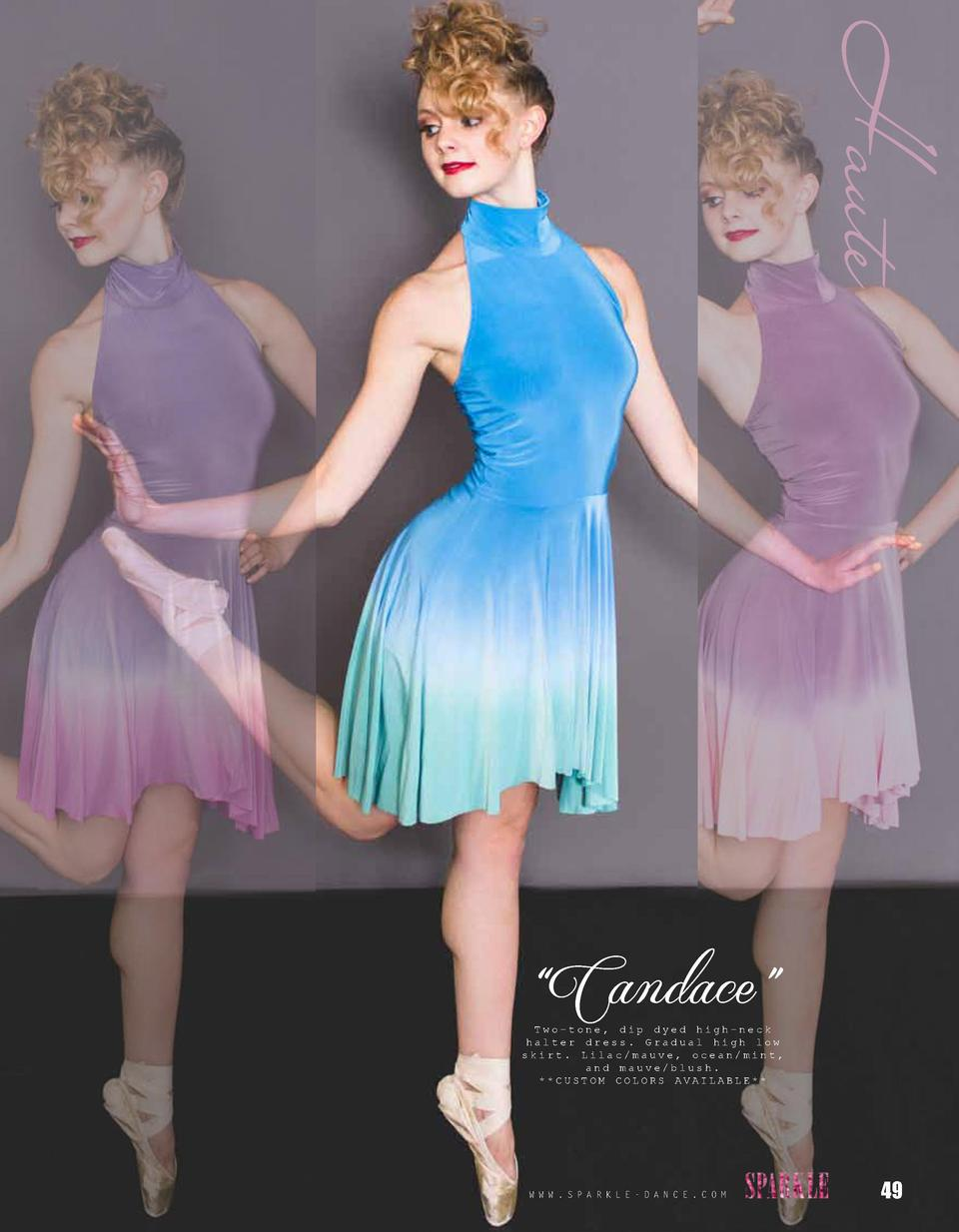 Haute    Candace     Two-tone, dip dyed high-neck halter dress. Gradual high low skirt. Lilac mauve, ocean mint, and mauve...