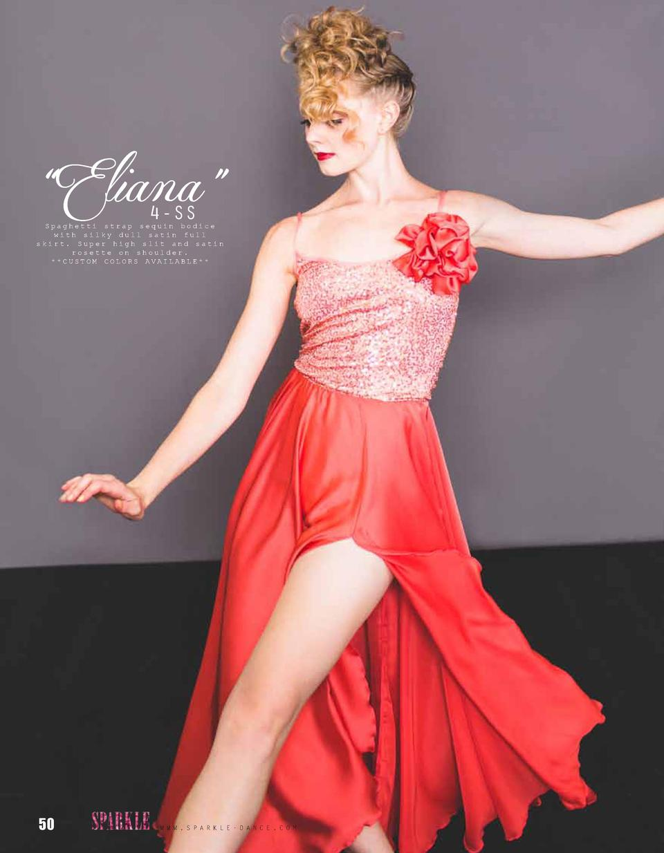 Eliana    4-SS  Spaghetti strap sequin bodice with silky dull satin full skirt. Super high slit and satin rosette on sh...