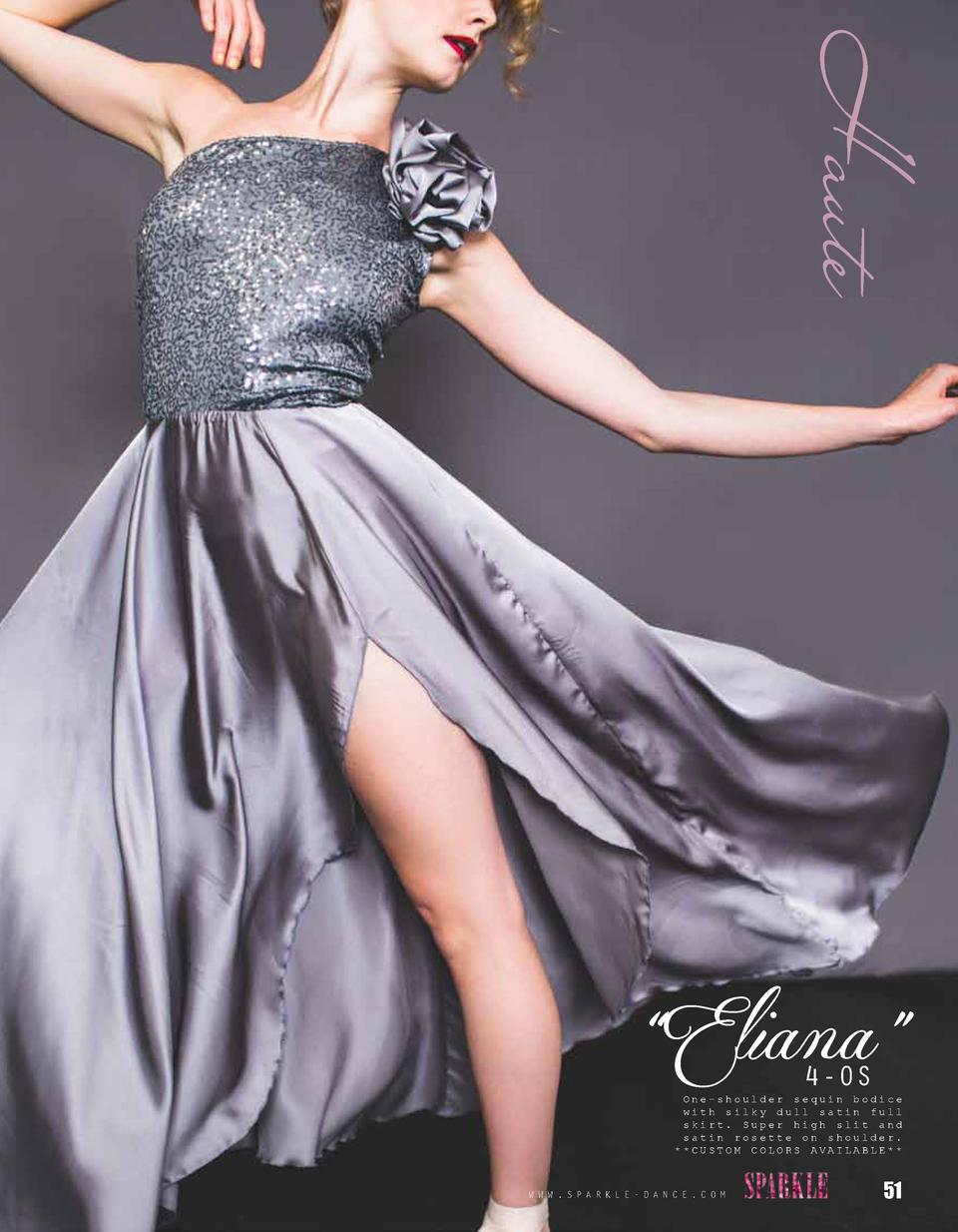 Haute    Eliana    4-OS  One-shoulder sequin bodice with silky dull satin full skirt. Super high slit and satin rosette on...