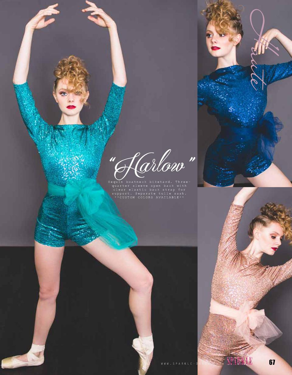 Haute    Harlow    Sequin boatneck biketard. Threequarter sleeve open back with clear elastic back strap for support. Sepa...