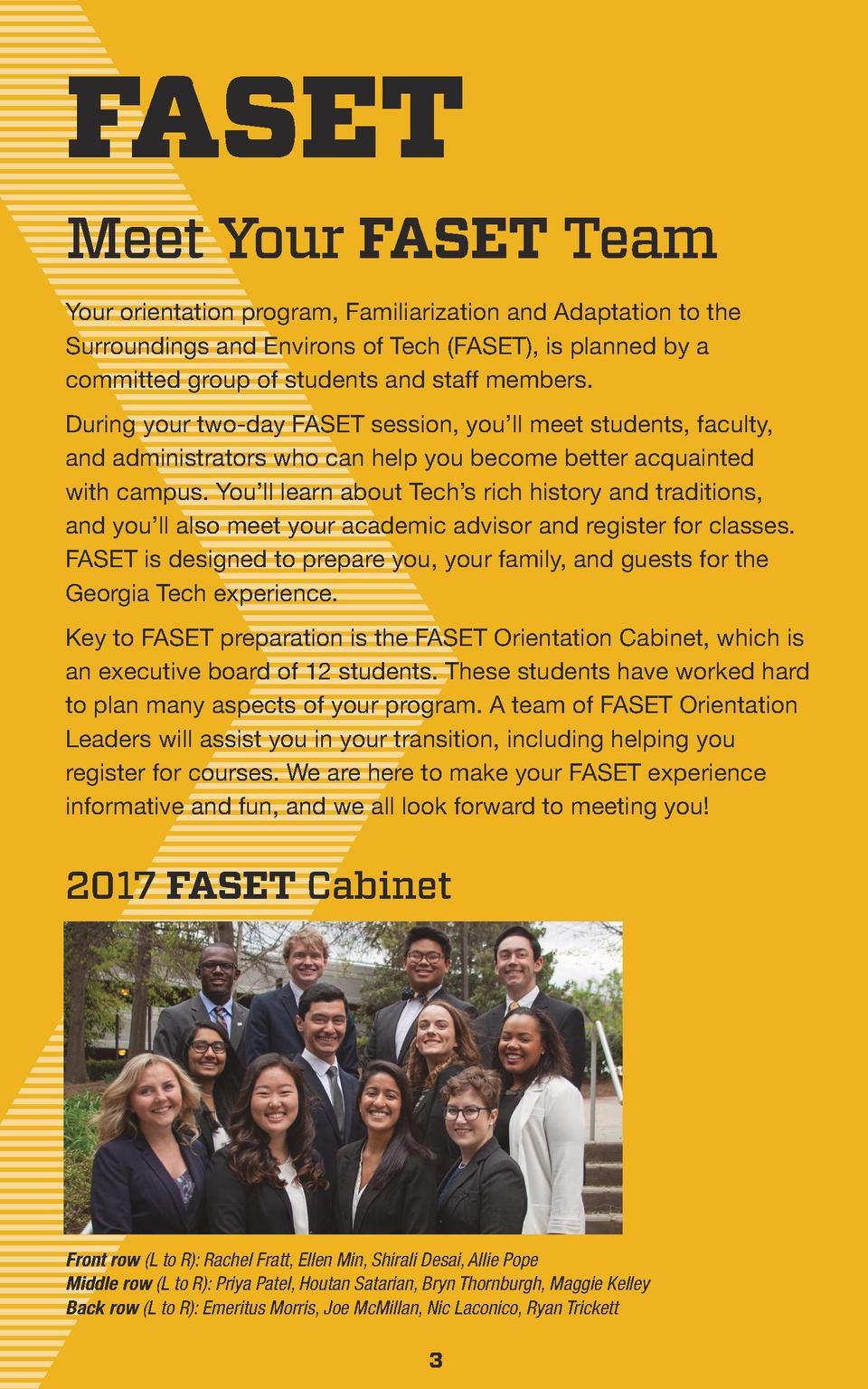 FASET  Meet Your FASET Team Your orientation program, Familiarization and Adaptation to the Surroundings and Environs of T...