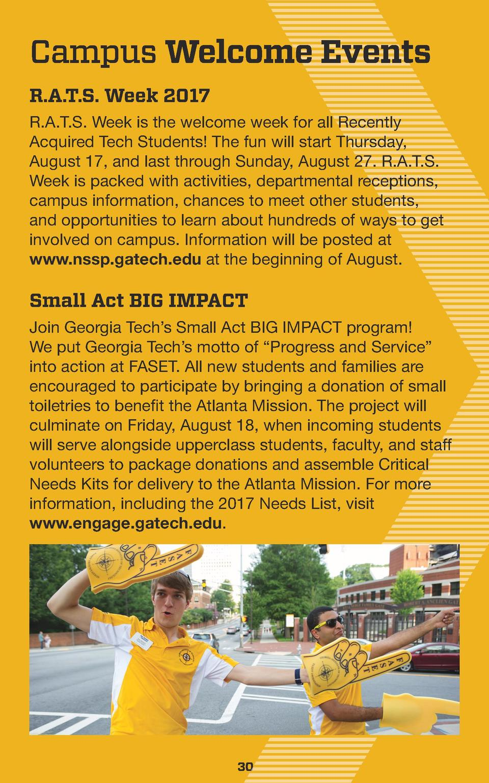 Campus Welcome Events R.A.T.S. Week 2017 R.A.T.S. Week is the welcome week for all Recently Acquired Tech Students  The fu...