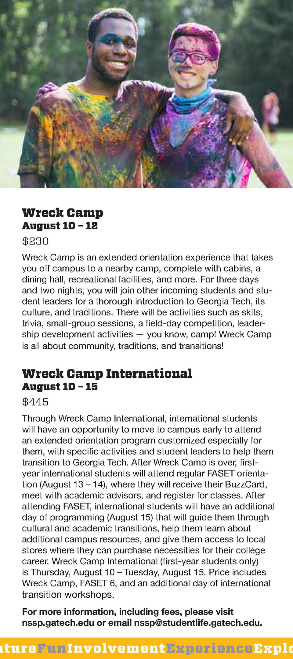Wreck Camp August 10     12  230  Wreck Camp is an extended orientation experience that takes you off campus to a nearby c...