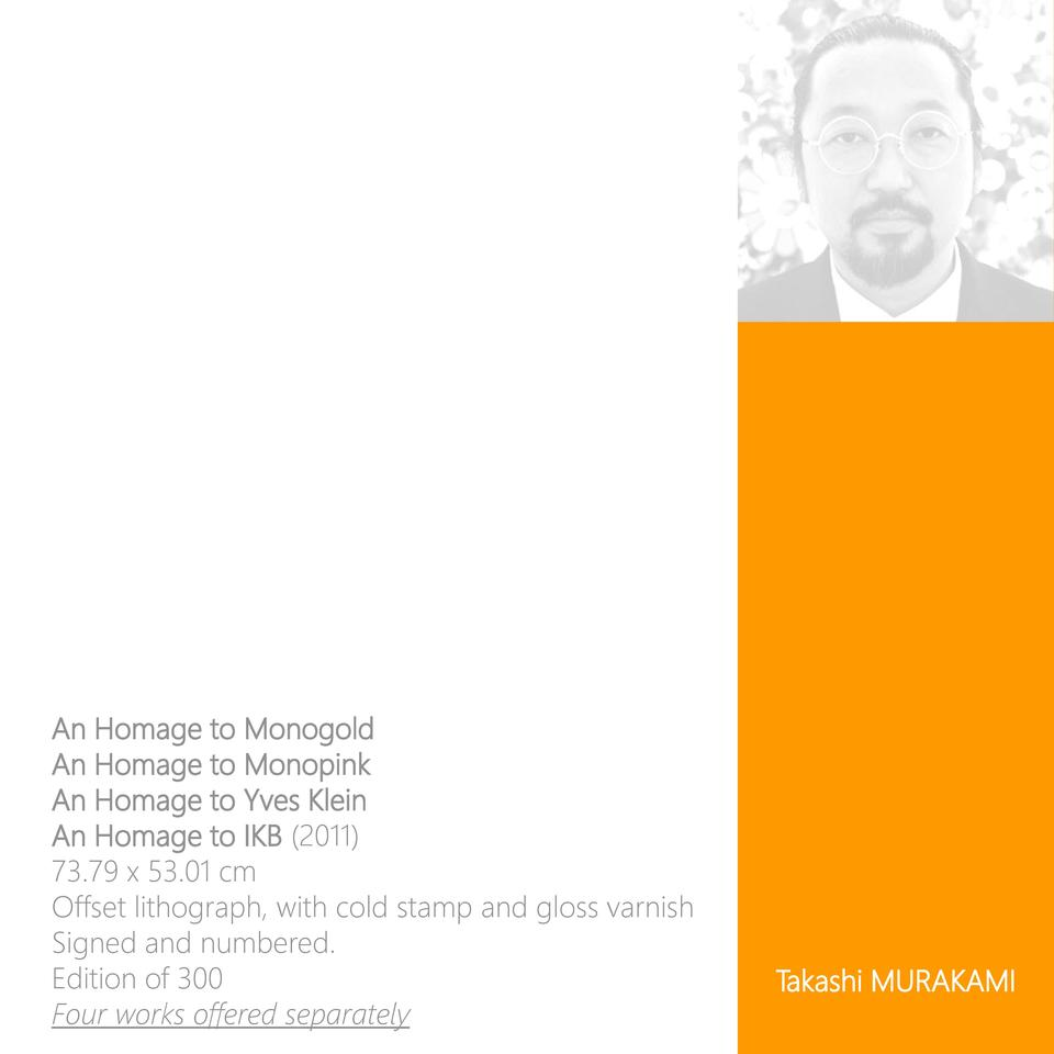 An Homage to Monogold An Homage to Monopink An Homage to Yves Klein An Homage to IKB  2011  73.79 x 53.01 cm Offset lithog...