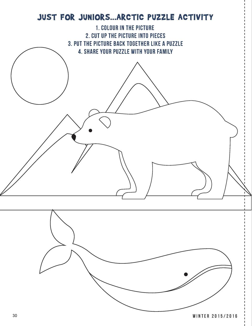 JUST FOR JUNIORS...ARCTIC PUZZLE ACTIVITY 1. COLOUR IN THE PICTURE 2. CUT UP THE PICTURE INTO PIECES 3. PUT THE PICTURE BA...