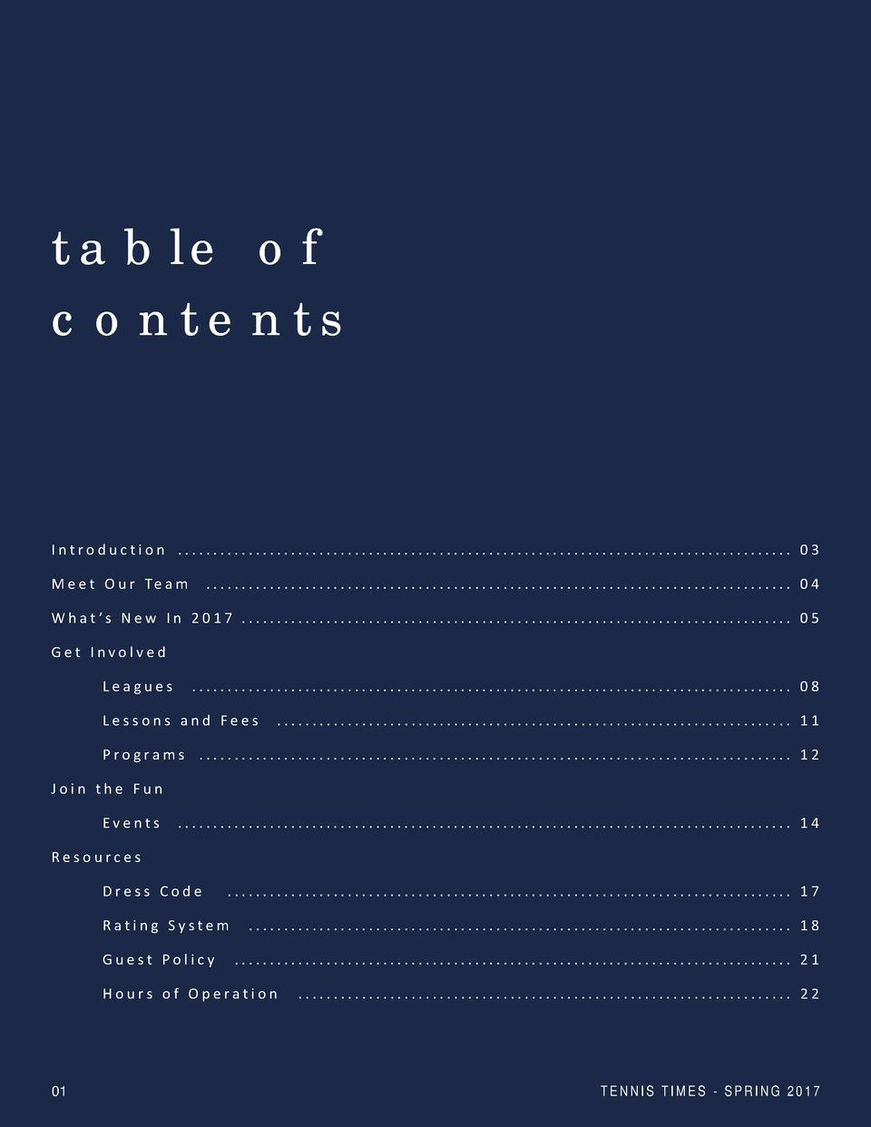 table of contents  Introduction ....................................................................................... 03...