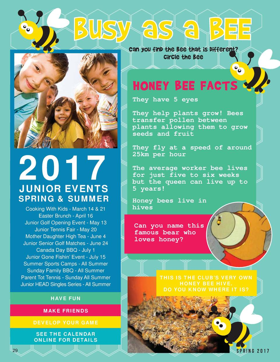 busy as a BEE Can you find the bee that is different  circle the bee  HONEY BEE FACTS They have 5 eyes They help plants gr...