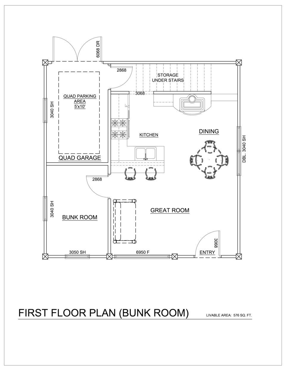 The trapper quad model 2 24x24 for Quad apartment plans