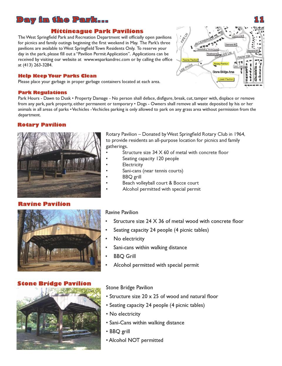 Day in the Park...           11  Mittineague Park Pavilions  The West Springfield Park and Recreation Department will offi...