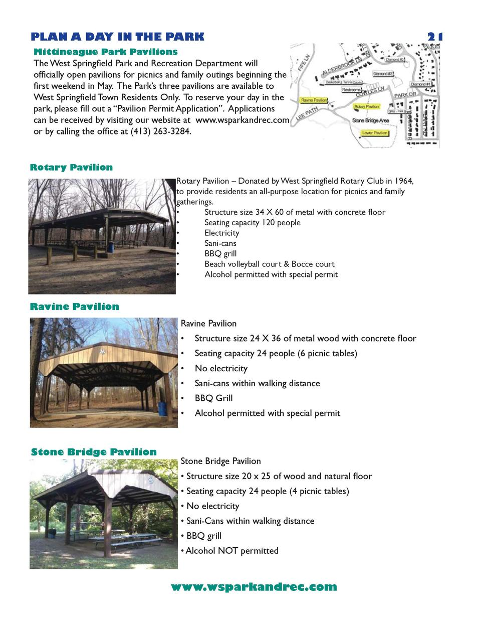 PLAN A DAY IN THE PARK Mittineague Park Pavilions  The West Springfield Park and Recreation Department will officially ope...