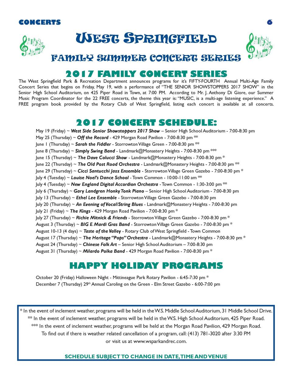 CONCERTS  6  WEST SPRINGFIELD FAMILY SUMMER CONCERT SERIES  2017 FAMILY CONCERT SERIES  The West Springfield Park   Recrea...