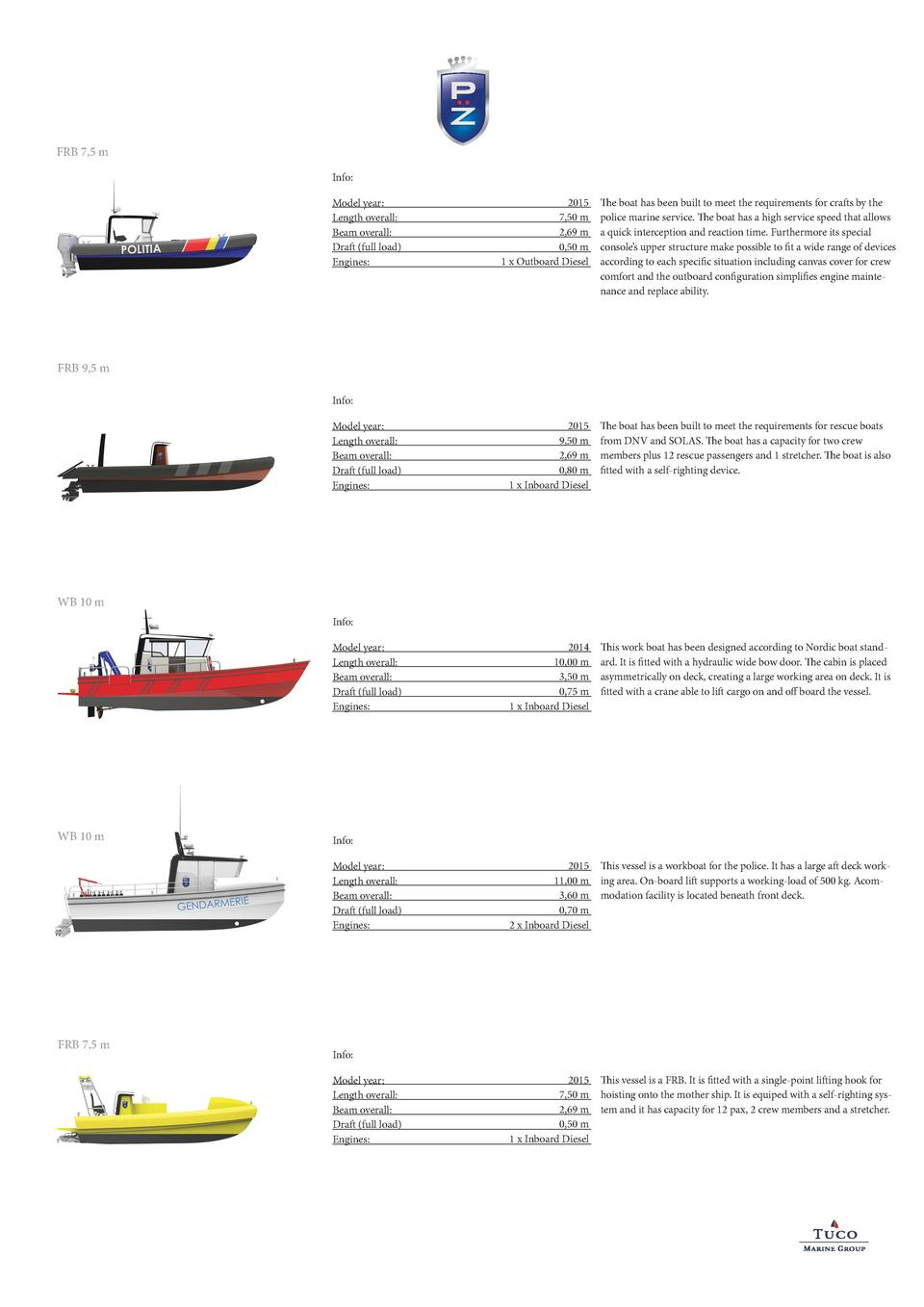 FRB 7,5 m Info  Model year  Length overall  Beam overall  Draft  full load  Engines   2015 7,50 m 2,69 m 0,50 m 1 x Outboa...