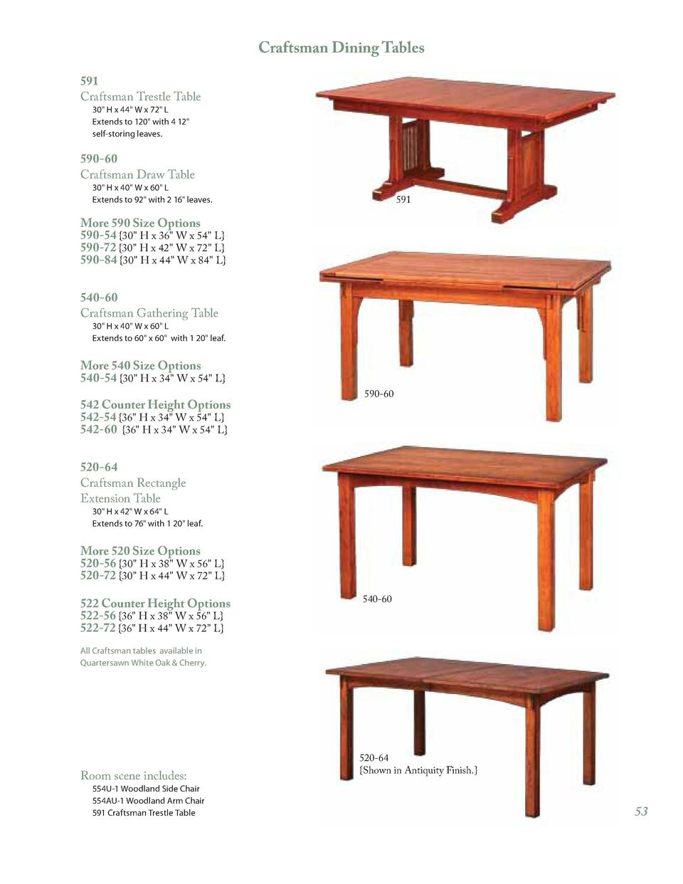 Craftsman Dining Tables 591 Craftsman Trestle Table 30 H X 44 W X 72 L  Extends