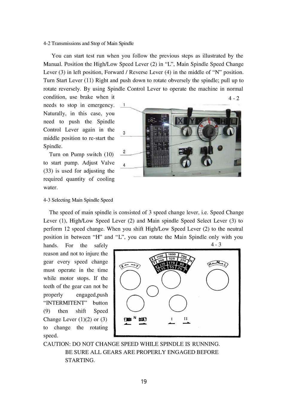 4-2 Transmissions and Stop of Main Spindle  You can start test run when you follow the previous steps as illustrated by th...