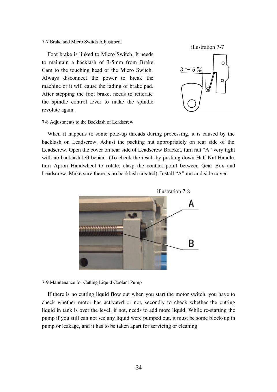 7-7 Brake and Micro Switch Adjustment  illustration 7-7 Foot brake is linked to Micro Switch. It needs to maintain a backl...