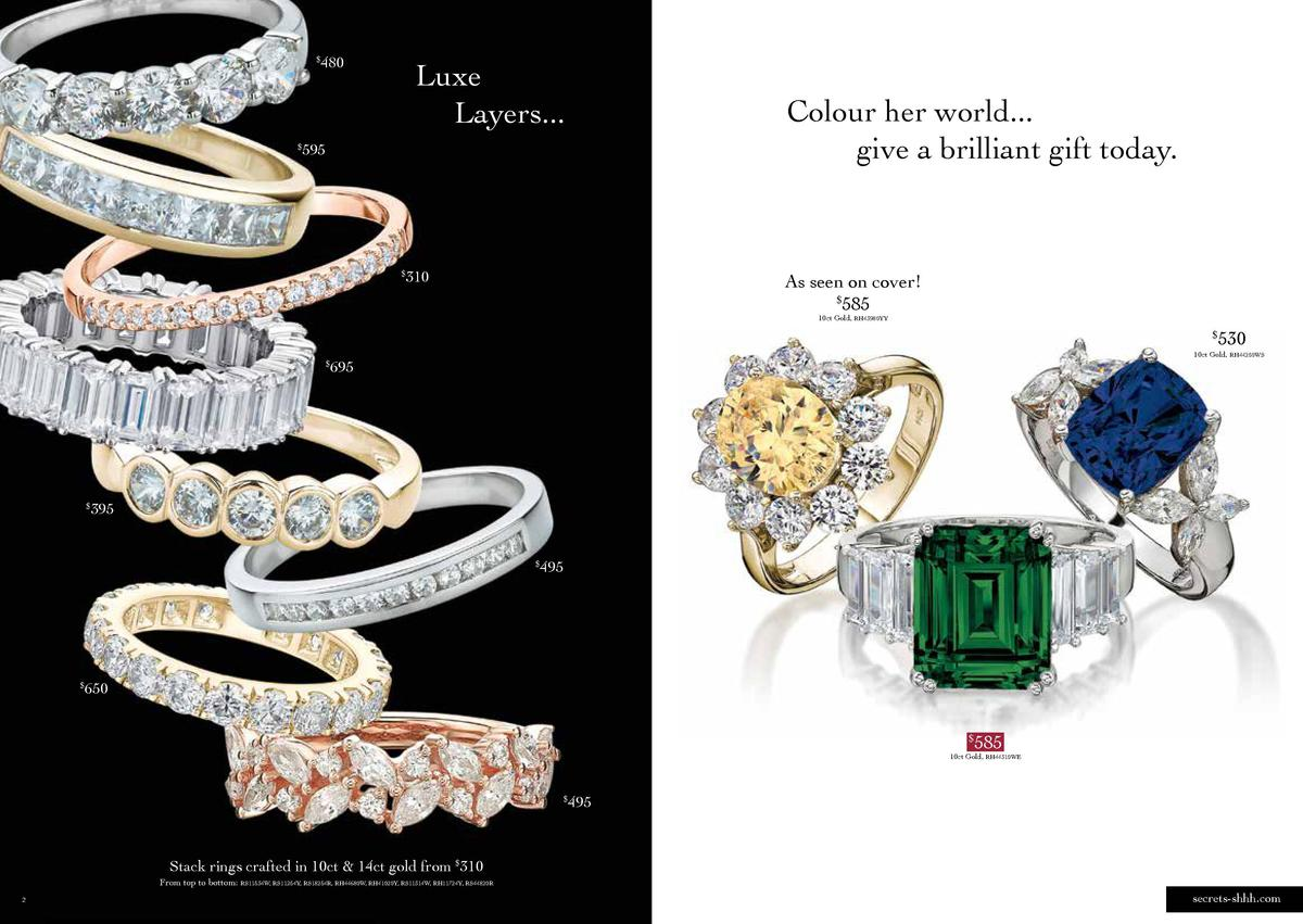 480  Luxe Layers...  Colour her world... give a brilliant gift today.  595     310     As seen on cover    585 10ct Gol...