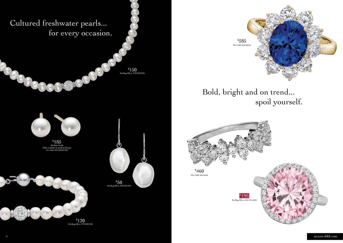 Cultured freshwater pearls... for every occasion.    585  10ct Gold, RH43980YS  150     Sterling Silver, WP16N12SS  Bold, ...