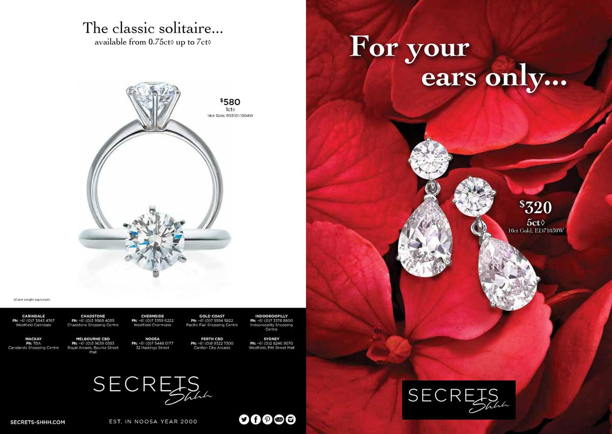 The classic solitaire...  For your ears only...  available from 0.75ct    up to 7ct        580 1ct     14ct Gold, RS5101-1...