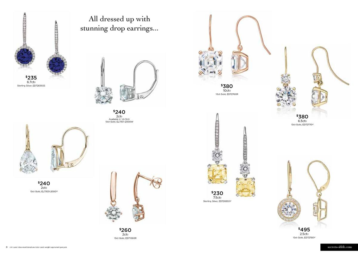All dressed up with stunning drop earrings...  235     6.7ct     380     Sterling Silver, ED7269SSS  10ct     10ct Gold, E...