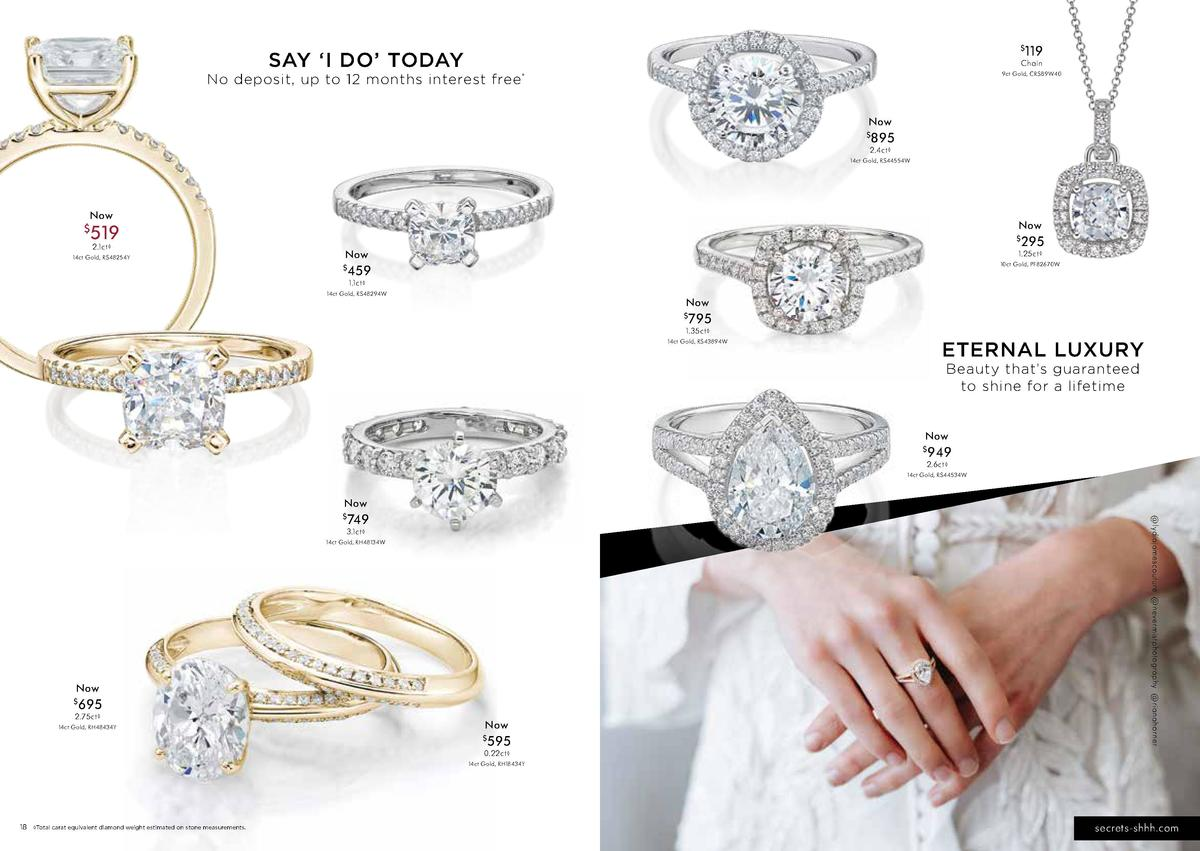 SAY    I DO    TODAY  119  Ch a i n  No deposit, up to 12 months interest free   9 ct G o l d , CR S B9 W 40  N ow    8...