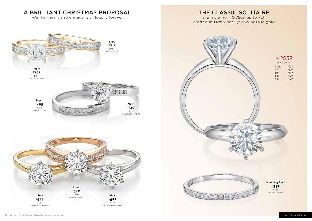 A BRILLIANT CHRISTMAS PROPOSAL Win her heart and engage with luxury forever  THE CLASSIC SOLITAIRE  available from 0.75ct ...