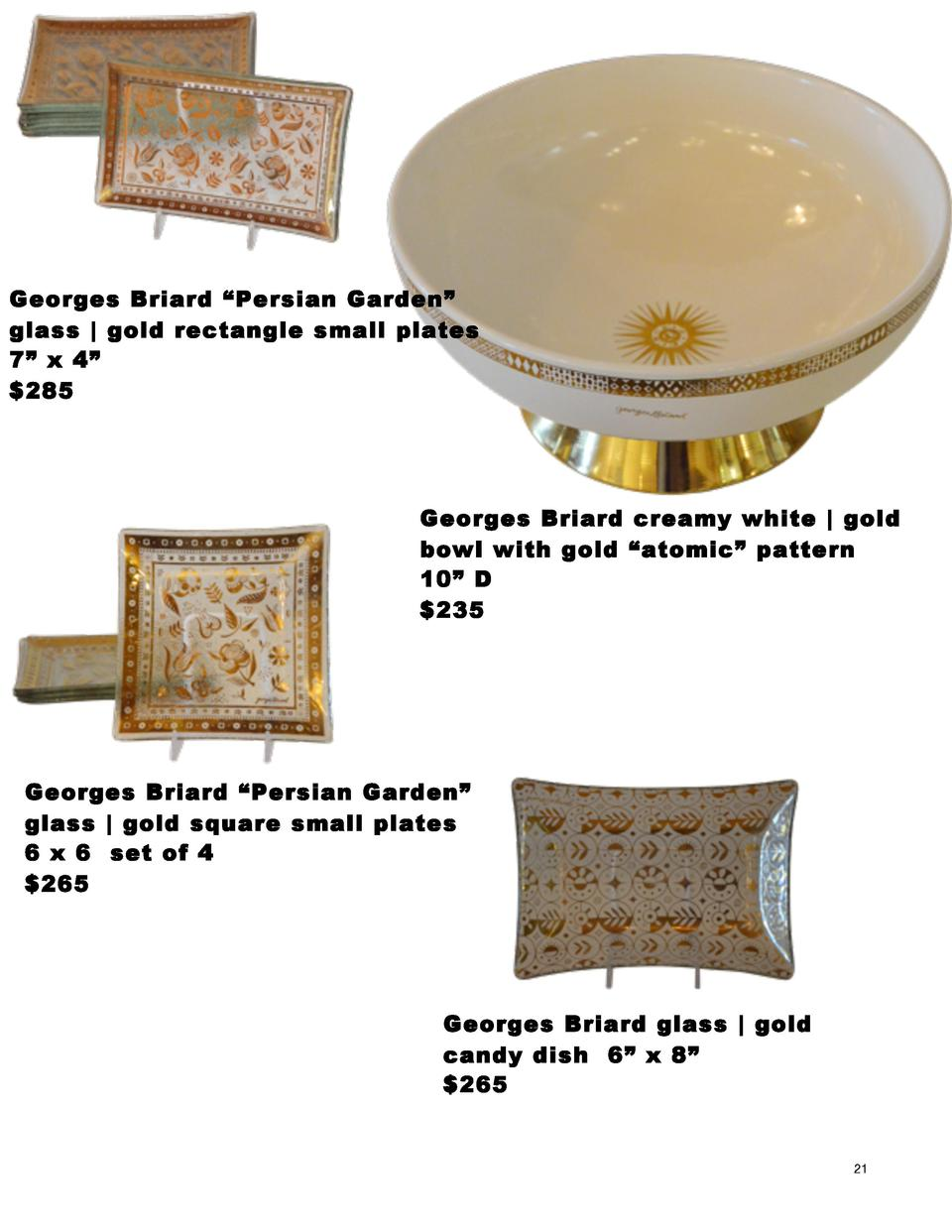 Georges Briard    Persian Garden    glass   gold rectangle small plates 7    x 4     285    Georges Briard creamy white   ...