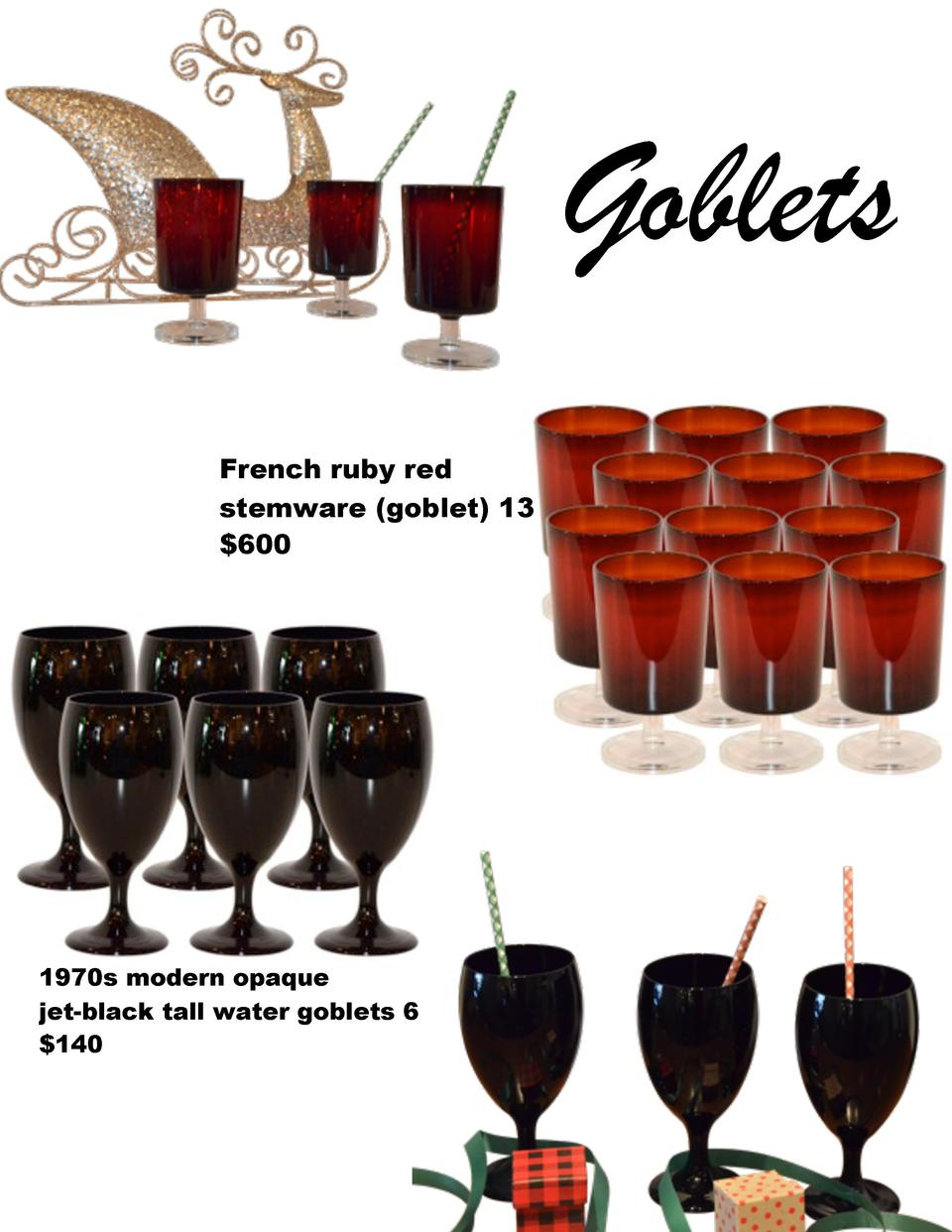 Goblets French ruby red stemware  goblet  13  600  1970s modern opaque jet-black tall water goblets 6  140