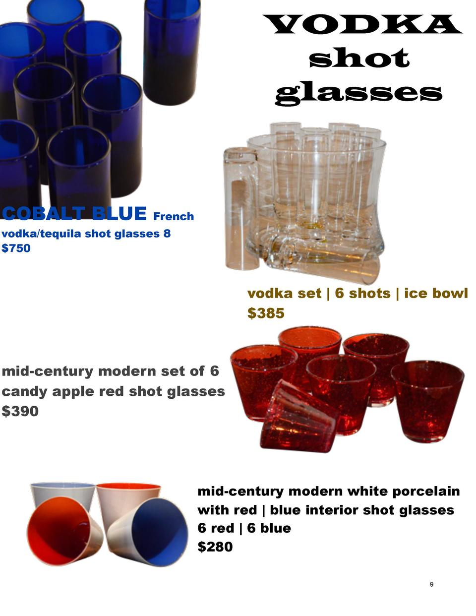 VODKA shot glasses  COBALT BLUE  French  vodka tequila shot glasses 8  750  vodka set   6 shots   ice bowl  385  mid-centu...