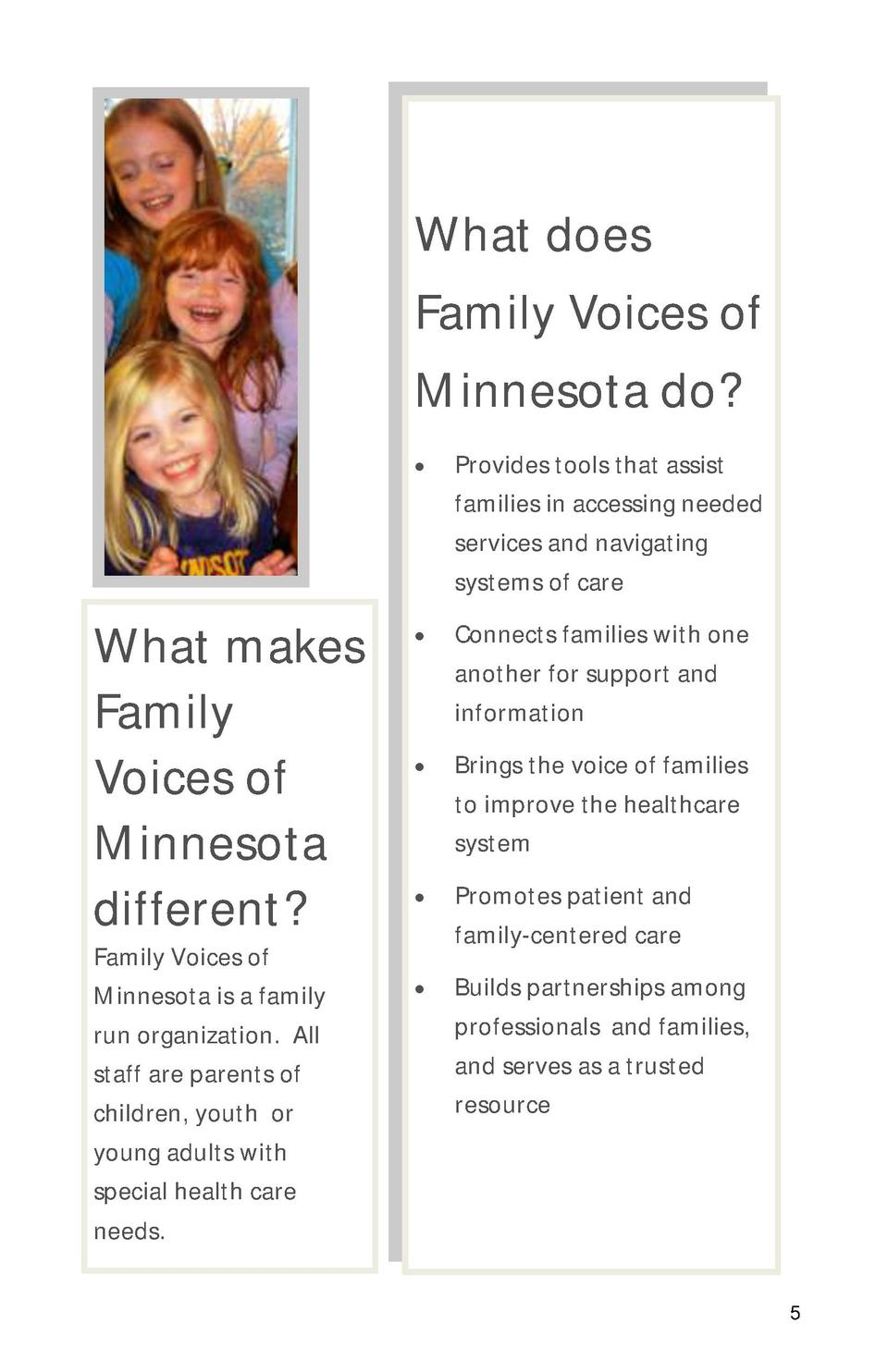 What does Family Voices of Minnesota do       What makes Family Voices of Minnesota different  Family Voices of Minnesota ...