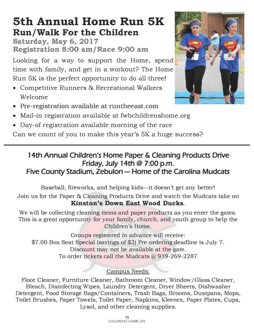 5th Annual Home Run 5K Run Walk For the Children  Saturday, May 6, 2017 Registration 8 00 am Race 9 00 am Looking for a wa...