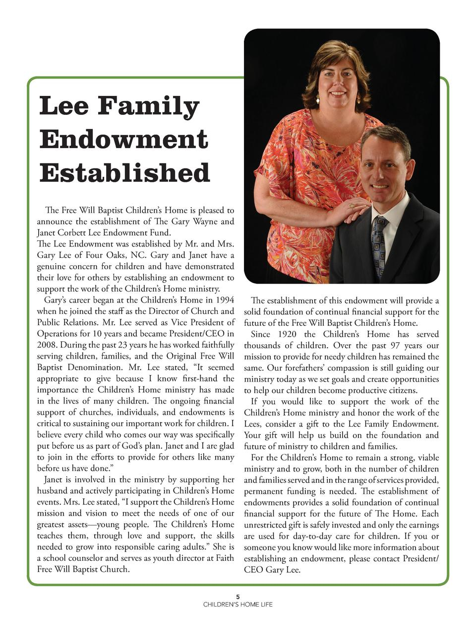 Lee Family Endowment Established The Free Will Baptist Children   s Home is pleased to announce the establishment of The G...