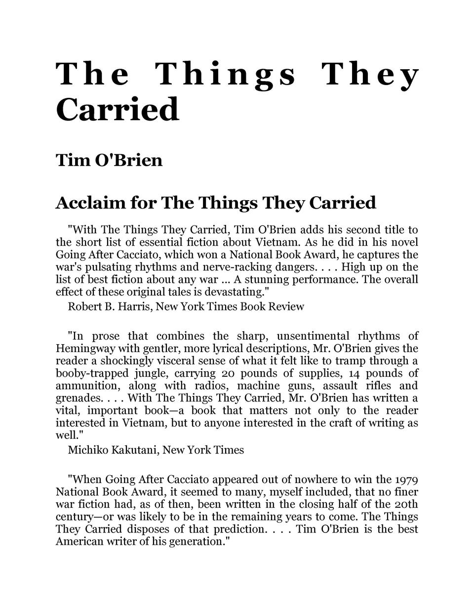 Tim Obrien Rhetorical Strategies in the Things They Carried