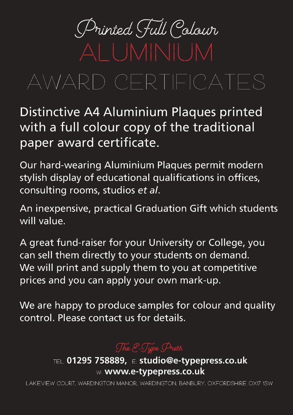Printed Full Colour  aluminIum award CERTIFICATES Distinctive A4 Aluminium Plaques printed with a full colour copy of the ...