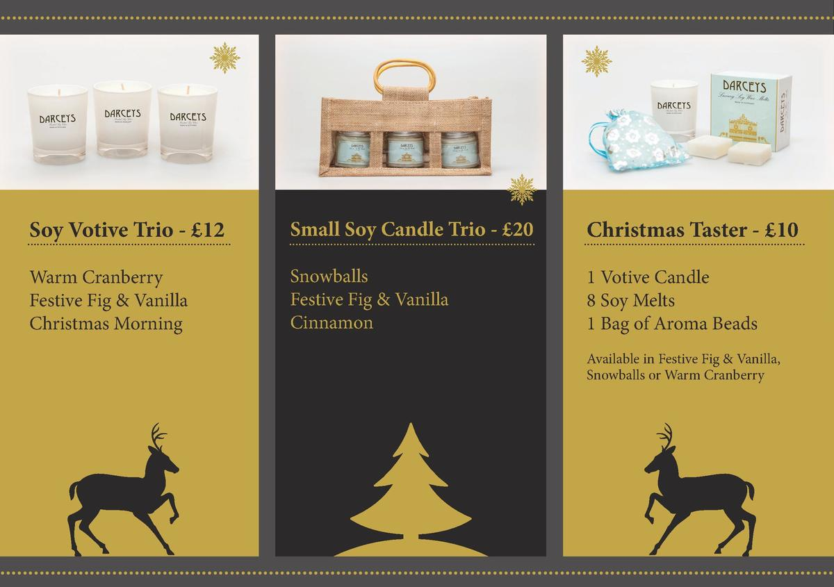 Soy Votive Trio -   12  Small Soy Candle Trio -   20  Christmas Taster -   10  Warm Cranberry Festive Fig   Vanilla Christ...