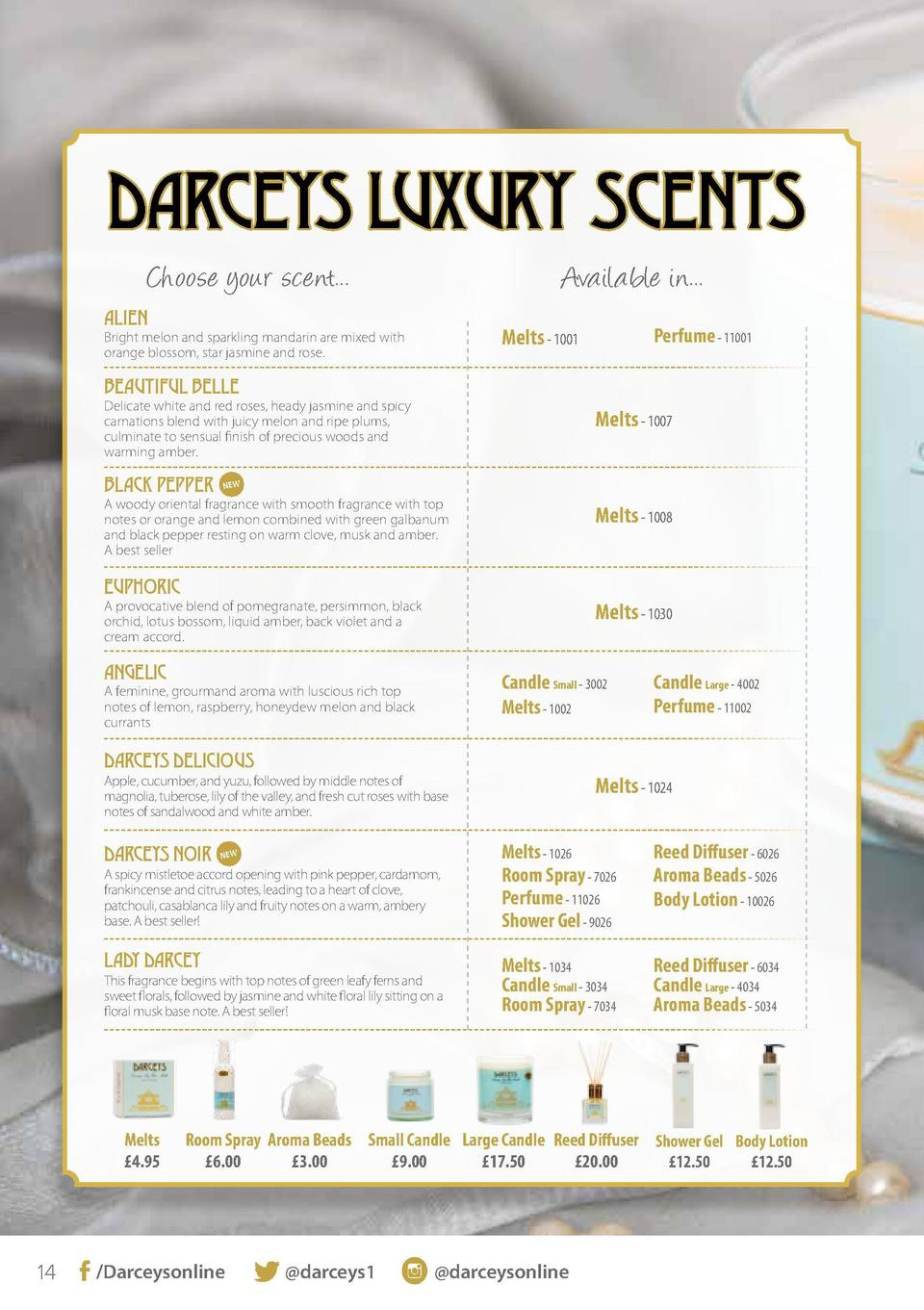 DARCEYS LUXURY SCENTS Choose your scent...  Available in...  ALIEN  Melts - 1001  Bright melon and sparkling mandarin are ...
